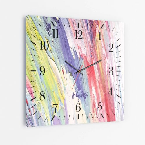 Surging Wave Purple - Square Glass Clock